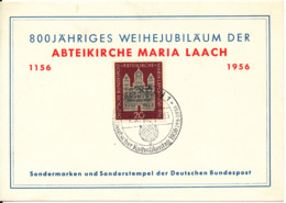 Germany Card Köln 29-8-1956 Deutscher Katholikentag 29-8 - 2-9/9-1956 Abteikirche Maria Laach 1156-1956 - [7] Federal Republic