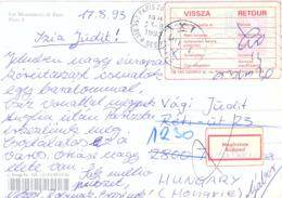 CP OMec SECAP PARIS 20 Du 23-8-1993 Pour Tatabánya HONGRIE - VIGNETTE VISSZA / RETOUR + VIGNETTE Megőrzésre / Budapest - 1961-....