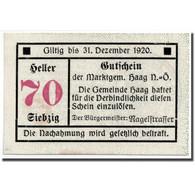 Billet, Autriche, Haag, 70 Heller, Ecusson, 1920, 1919-12-20, SPL, Mehl:FS - Austria