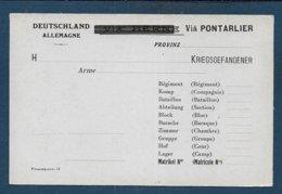Carte Pour Prisonnier En Allemagne - Via Pontarlier / Via Berne Barré - Marcofilia (sobres)