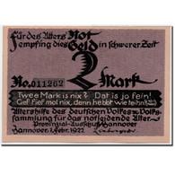 Billet, Allemagne, Hannover, 2 Mark, Portrait, 1922, 1922-02-01, SPL - Andere