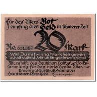 Billet, Allemagne, Hannover, 20 Mark, Portrait, 1922, 1922-02-01, SPL - Andere