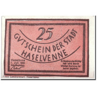 Billet, Allemagne, Haselünne, 25 Pfennig, Personnage, 1921, 1921-10-01, SPL - Duitsland