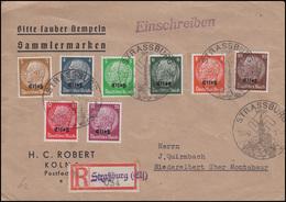 Elsaß 1-8 Hindenburg Mt Aufdruck 3 Bis 15 Pf MiF R-Brief SSt STRASSBURG 19.11.40 - Besetzungen 1938-45
