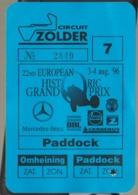 Circuit De Zolder  1996 - Tickets D'entrée