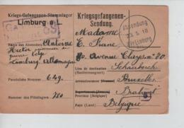 PR7438/ CP-PK PDG-POW-KFS Belge Camp Limburg A/L 1918 Censure > BXL Schaerbeek - WW I