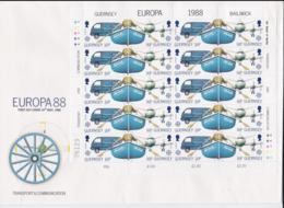 Guernsey 1988 FDC Europa CEPT Complete Sheet - Missing Part Of Sheet Margin LowerSW (L76-10) - Europa-CEPT