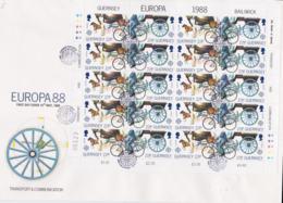 Guernsey 1988 FDC Europa CEPT Complete Sheet  (L76-10) - Europa-CEPT