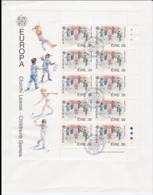 Ireland 1989 FDC Europa CEPT Complete Sheet - Bowed Cover Take As Used Sheet Only (L76-10) - Europa-CEPT