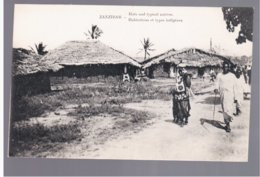 TANZANIA Zanzibar Huts And Typical Natives. Habitations Et Types Indigènes Ca 1910 Old Postcard - Tanzania