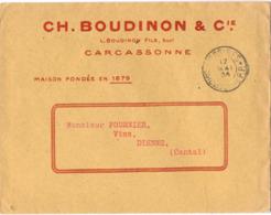 AUDE : CARCASSONNE * IMPRIMES * P.P. (PORT PAYÉ) - CH. BOUDINON & Cie - MAISON FONDÉE EN 1879 - Postmark Collection (Covers)