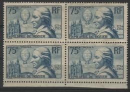 """N° 313, Bloc De 4 Du 75ct Bleu Vert """"François Pilâtre De Rozier"""". Voir Description - Francia"""