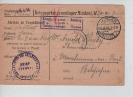 PR7439/ CP PDG-POW-KFS Camp De Minden 1916 Censure > Marchienne Au Pont C.d'arrivée - WW I