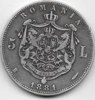 Roumanie - 5 Lei - 1881 - Argent - Roumanie