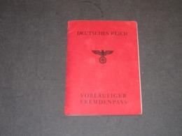 DEUTSCHES REICH- VORLAUFIGER FREMDENPASS + PAPIERS DIVERS - TRAVAIL OBLIGATOIRE BERLIN-HERMANS THEODOR-MECHELEN-1943 - 1939-45