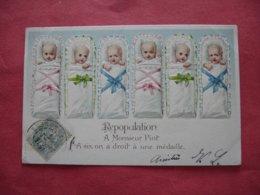 2 Carte  Gaufree  Bebe Bebes Repopuation A Monsieur Piot A 6 On A 1 Medaille - Bébés