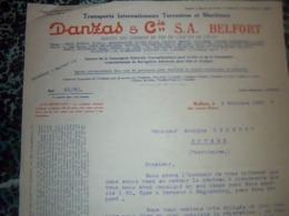 Facture Lettre à Entête Année 1929 Transport Internationaux Terrestres Et Maritimes DANZAS à Belfort - Verkehr & Transport
