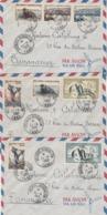 TAAF Yvert Série 2 à 7 + PA 2 Et 3 Sur 3 Lettres Cachet Archipel Des Kerguelen 11/4/1959 Pour Tananarive - Franse Zuidelijke En Antarctische Gebieden (TAAF)