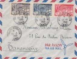 TAAF Yvert Série 8 à 10 Sur Lettre Cachet Archipel Des Kerguelen 11/4/1959 Pour Tananarive - Franse Zuidelijke En Antarctische Gebieden (TAAF)