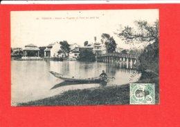 TONKIN HANOI  Cpa Animée Pagode Et Pont Du Petit Lac  48 - Vietnam