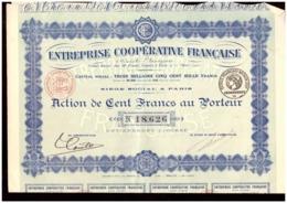 France. Action De 100 Francs Au Porteur N° 18.626. Entreprise Coopérative Française . 1922. + 30 Coupons. - Actions & Titres