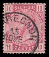 """COB N° 38 - Oblitération S.C. """"QUAREGNON"""" - 1869-1883 Leopold II."""