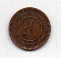 BRITISH INDIA - STRAITS SETTLEMENTS, 1/4 Cent, Bronze, 1908, KM #17 - Indien