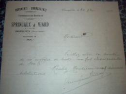 Facture  Lettre A Entéte Boucherie Charcuterie SPRINGAUX ET  VIARD à Champlite Haute Saône 1939 - Alimentare