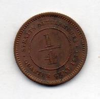 BRITISH INDIA - STRAITS SETTLEMENTS, 1/4 Cent, Bronze, 1916, KM #27 - Indien