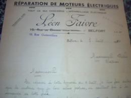 Facture  Lettre A Entéte Réparations De Moteurs électriques LEON FAIVRE A Belfort 1934 - Frankreich