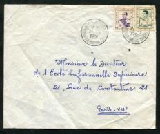 Cambodge Lettre De 1958 Avec Très Rare Cachet Kompong Som Maritime Pour Paris Chargé Station Météo Du Port De Kompongsom - Cambodja