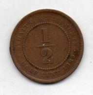 BRITISH INDIA - STRAITS SETTLEMENTS, 1/2 Cent, Bronze, 1889, KM #15 - Indien