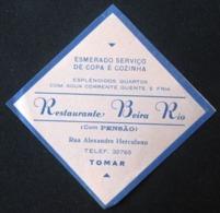 HOTEL PENSAO RESIDENCIAL ESTALAGEM BEIRA RIO TOMAR TAG DECAL STICKER LUGGAGE LABEL ETIQUETTE AUFKLEBER PORTUGAL - Etiketten Van Hotels