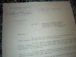 Facture  Lettre A Entéte  Albert Bonifaci Représentant ( Vente E Choucroutes ) à Marseille 1938 - Frankreich