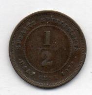 BRITISH INDIA - STRAITS SETTLEMENTS, 1/2 Cent, Copper, 1872, KM #8 - Indien