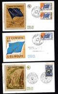 FRANCE  CONSEIL DE L'EUROPE  3 FDC  N°s 31 Et 35 Et 33 N° 1612 Charte Européenne De L'eau - Lettres & Documents