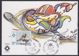 Yugoslavia 1984 Winter Olympic Games In Sarajevo, Ice Hockey, Commemorative Card - 1945-1992 République Fédérative Populaire De Yougoslavie