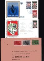 FRANCE  UNESCO  3 FDC  N° S 39, 40 , 42  N° S 39 Et N° S 36, 37, 38 ( Série Complète Circulée ) - Lettres & Documents