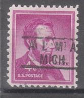 USA Precancel Vorausentwertung Preo, Locals Michigan, Alma 801 - United States
