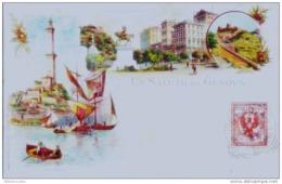 ITALIA/Cartolina Pioniera:Cromolitografia KUNSLI,ZURICH -UN SALUTO DA GENOVA -LANTERNA+MONUMENT V.EMANUELE - Genova (Genoa)