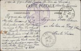 Guerre 14 Dépôt D'Alsaciens Lorrains Cachet Déesse Assise Dépôt Du Fort De Lourdes Le Commandant CAD Lourdes 14 12 16 - WW I