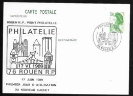 Entier Carte Postale Liberté Gandon . Repiquée Rouen Premier Jour D'utilisation Du Nouveau Cachet . 1989. - Ganzsachen