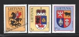 Lituanie – Lithuania – Lituania 1999 Yvert 622-24, Cities Coat Of Arms (VIII) - MNH - Lituania
