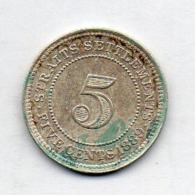 BRITISH INDIA - STRAITS SETTLEMENTS, 5 Cents, Silver, 1889, KM #10 - Indien