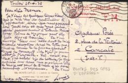 CP Monté Carlo 26 4 38 Toulon S Mer Dispositif Spécial Méditerranée Guerre Espagne Blocus Côtes Cachet Marine Nationale - Marcophilie (Lettres)