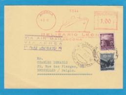 CARTE POSTALE D'ANCONE(ANCONA)PAR AVION AVEC TIMBRES ET EMA POUR BRUXELLES,1947. - 1946-60: Poststempel