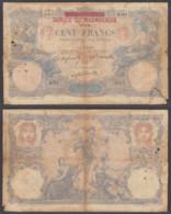 Madagascar 100 Francs 1892 (G) Condition RARE Banknote P-34 - Madagascar