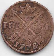 Suède - Ore - 1778 - Rare - Suède