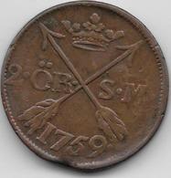 Suède - 2 Ore - 1759 - Sweden