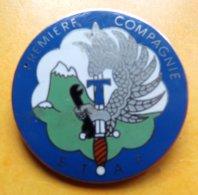 E.T.A.P, 1° Compagnie Sur Bleu Clair, émail, Montagne Verte, Matriculé 099, FABRICANT SANS ,HOMOLOGATION SANS, ETAT VOIR - Esercito